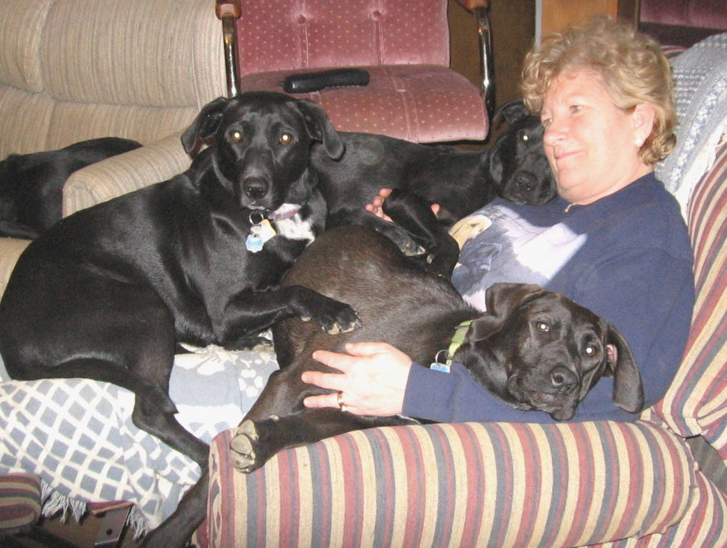 Sheila with dogs.